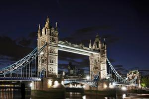 Tower Bridge across the Thames, at Night, London, England, Uk by Axel Schmies
