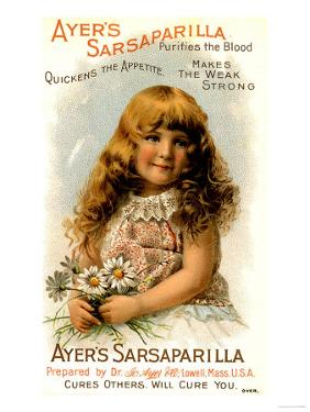 Ayer's Sarsaparilla, Ayers Tonics Water Will Cure You, Makes the Weak Strong, USA, 1890