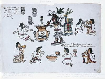 Aztec Pulque Deity Blowing on a Tube Above a Jar of Pulque and Men Drinking Pulque