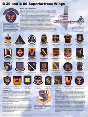 B-29/B-50 Airplane Superfortress Wings Educational Military Chart Poster