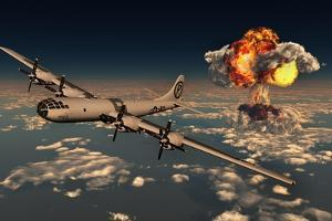 B-29 Superfortress Flying Away from the Explosion of the Atomic Bomb