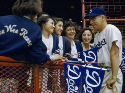 Baseball Fans Talk to Brooklyn Dodgers' Shortstop Pee Wee Reese by B. Anthony Stewart