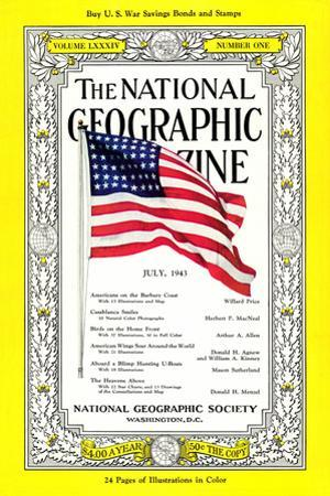Cover of the July, 1943 National Geographic Magazine by B. Anthony Stewart