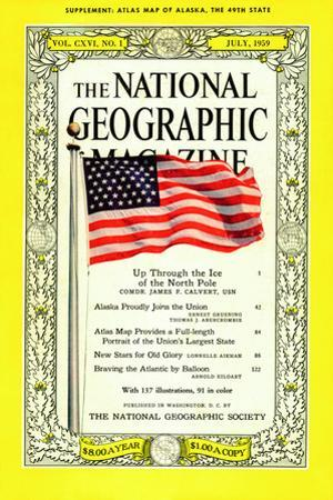 Cover of the July, 1959 National Geographic Magazine by B. Anthony Stewart