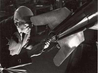 Robert Goddard Adjusting a Steering Vane by B. Anthony Stewart
