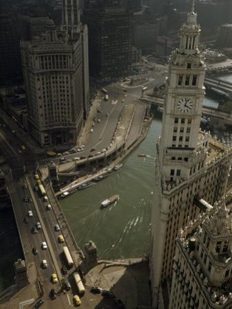 View of Wrigley Building, Michigan Avenue Bridge, and Chicago River by B. Anthony Stewart
