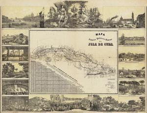 Mapa Historico Pintoresca Moderno de al Isla De Cuba, c.1853 by B. & C. May