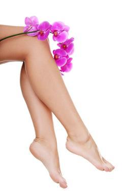 Beautiful Female Legs and an Orchid Flower, Isolated on White by B-D-S