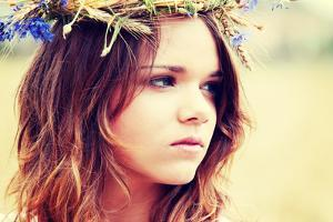 Beautiful Young Girl in Summer Field with Grain and Flower Garland by B-D-S