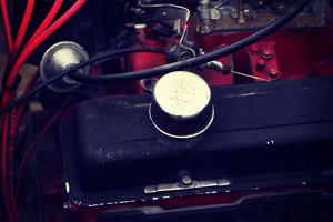 Close up on Automotive Engine Compartment, Old Car by B-D-S