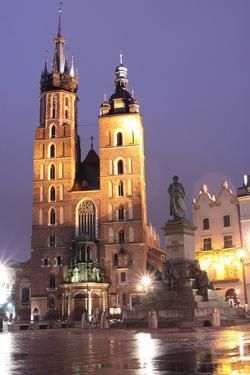 Krakow by Night - St. Marys Church by B-D-S