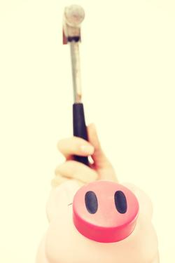 Pink Piggy Bak and a Hammer above It. Isolated on White. by B-D-S