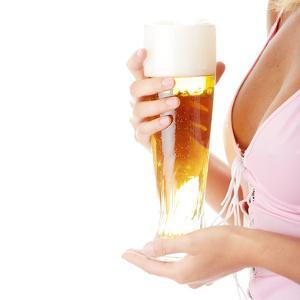 Young Attractive Blonde in Sexy Lingerie Holding a Beer by B-D-S