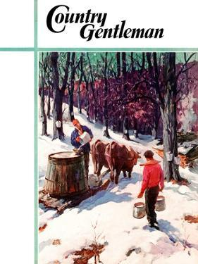 """""""Harvesting Maple Sap,"""" Country Gentleman Cover, March 1, 1940 by B. Summers"""