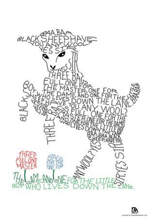 Baa Baa Black Sheep Text Poster