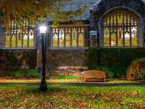A Bench Outside a Row of Colorful Stained Glass Windows, in the Bright Light of a Streetlamp by Babak Tafreshi