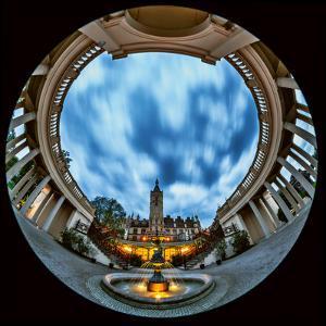 A Fisheye View of the Historic Schwerin Palace at Dusk by Babak Tafreshi