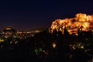 A Panoramic View of Athens, Greece at Night by Babak Tafreshi