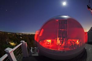 A Time Exposure of a Moonlit Observatory Dome with Orion Is Rising on the Left by Babak Tafreshi