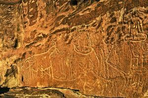Close Up of Ancient Petroglyphs in the Atacama Desert's Rainbow Valley by Babak Tafreshi