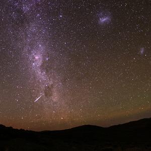 Crux, Carina Nebula, Magellanic Clouds, Alpha and Beta Centauri, the Milky Way and a Meteor by Babak Tafreshi