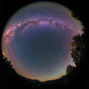 Fisheye View of the Milky Way and Green Airglow over the Teton Range and Snake River by Babak Tafreshi