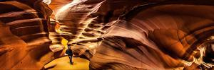 Panoramic View of a Man in a Slot Canyon Eroded by Flash Floods Carrying Abrasive Sand Particles by Babak Tafreshi