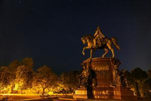 Stars Above a Statue of Frederick Francis Ii by Babak Tafreshi