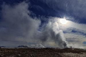 Steam from Geysers in Myvatn Geothermal Area, Northern Iceland. a Volcano Is on the Horizon by Babak Tafreshi