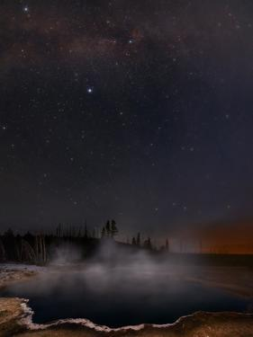 Steam Rising from a Geothermal Hot Spring under the Milky Way and Northern Stars by Babak Tafreshi
