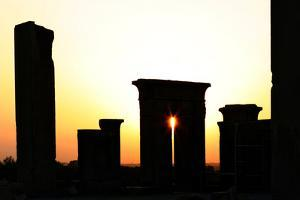 Sunset at Persepolis. Tachara, the Palace of Darius I, Is in the Foreground by Babak Tafreshi
