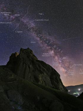 The Arc of the Milky Way and a Meteor Streak Above the Ruins of the Mountain Fortress of Alamut by Babak Tafreshi