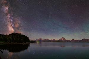 The Bright Summer Milky Way Appears over the Jackson Lake Dam by Babak Tafreshi
