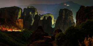 The Giant Sandstone Pillars of World Heritage Site of Meteora at Night by Babak Tafreshi