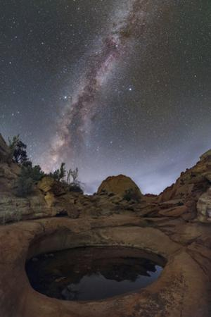 The Milky Way above a water hole in Capitol Reef National Park. by Babak Tafreshi