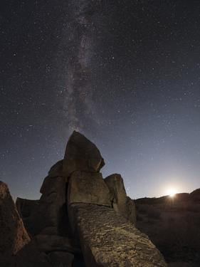 The Milky Way Above an Engraved Petroglyph in the Owens Valley of Sierras, California by Babak Tafreshi