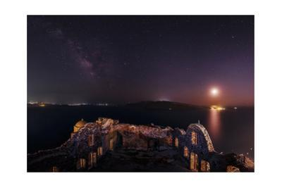 The Milky Way and the Moon over the Castle of Agios Nikolaos, a 15th Century Ruin by Babak Tafreshi