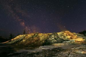 The Milky Way over Geothermal Hot Springs in a Geyser Basin, at Night by Babak Tafreshi