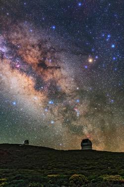 The Milky Way, Scorpius, Sagittarius, and Bright Star Antares Above Telescopes on La Palma Island by Babak Tafreshi