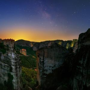 The Night Sky Above the Monasteries at the World Heritage Site of Meteora by Babak Tafreshi