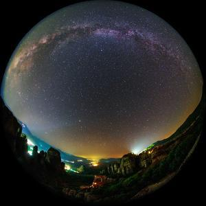 The Night Sky Above the World Heritage Site of Meteora by Babak Tafreshi