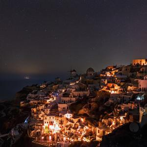 The Starry Sky over Oia and the Aegean During a Fire Caused Black-Out. the Big Dipper Is Visible by Babak Tafreshi
