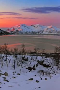 The Sun Sets over a Fjord and Winter Landscape by Babak Tafreshi