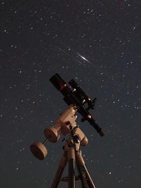 Two Iridium Satellites Flare in the Night Sky over a Telescope by Babak Tafreshi