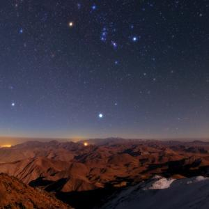Winter Stars, Including Sirius and the Constellation Orion, Rise Above Zagros Mountains, Iran by Babak Tafreshi