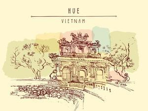 Hue, Vietnam. Imperial Citadel Gate. Hand Drawn Postcard in Retro Style by babayuka