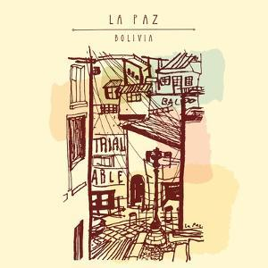 La Paz, Bolivia, Latin America. Hand Drawn Vintage Postcard in Vector by babayuka