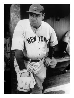 Babe Ruth in the New York Yankees Dugout at League Park in Clevelenad, Ohio, 1934