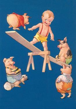 Baby and Pigs at Playground