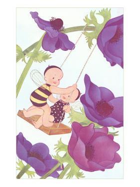 Baby Fairies Swinging in Purple Poppies